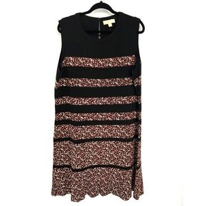 Michael Kors Black Floral Striped Shift Dress
